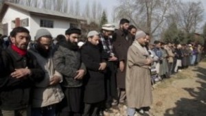 Kashmiri Muslims hold funeral prayers in absentia for a missing Kashmiri man in Srinagar, Indian controlled Kashmir, Tuesday, Jan. 19, 2016. Hundreds Tuesday participated in funeral prayers in absentia for a Kashmiri man who disappeared fourteen years back. Relatives allege that the man was killed in the custody of Indian troops. (AP Photo/Dar Yasin)